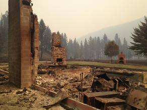 All that remains is the chimney. Photo courtesy of KPAX.com